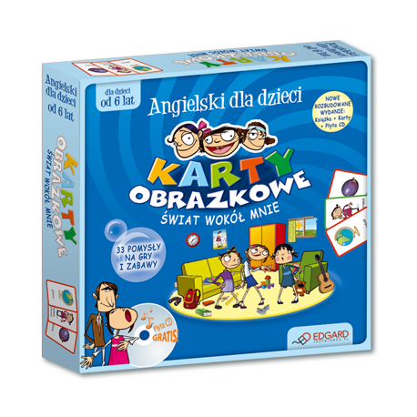 Angielski dla dzieci Karty obrazkowe Świat wokół mnie (od 6 lat) (Książeczka + 104 ilustrowane karty + płyta CD )