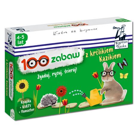 Kapitan Nauka 100 zabaw z królikiem Kazikiem 4-5 lat (Książka + 30 ścieralnych kart + flamaster)