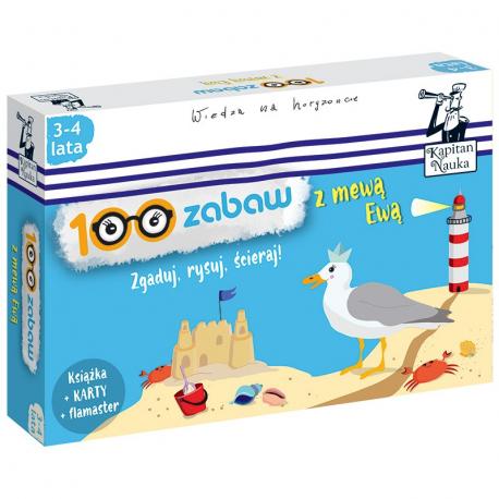 Kapitan Nauka 100 zabaw z mewą Ewą 3-4 lata (Książka + 30 ścieralnych kart + flamaster)