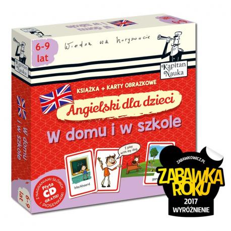 Kapitan Nauka. Angielski dla dzieci. W domu i w szkole 6-9 lat (Książka + 104 karty obrazkowe + płyta CD)