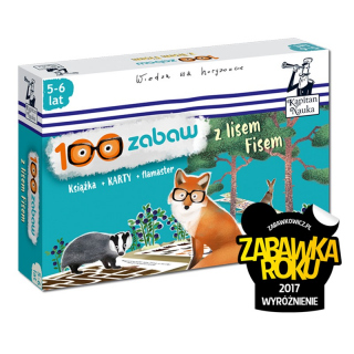 Kapitan Nauka 100 zabaw z lisem Fisem (5-6 lat) Nowa edycja (Książka + 30 ścieralnych kart + flamaster)