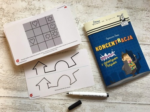 Kapitan Nauka. Koncentracja. 100 zabaw z detektywem Motywem 6-9 lat  (Książka + 48 zmywalnych, dwustronnych kart + flamaster)