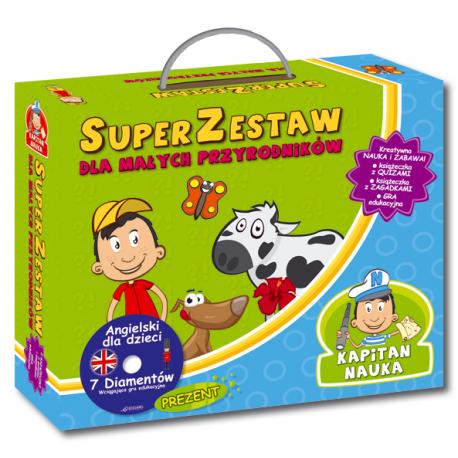 Kapitan Nauka SuperZestaw dla małych przyrodników  (Książeczka z quizami + Książeczka z zagadkami + CD-ROM gra edukacyjna Angielski 7 Diamentów)
