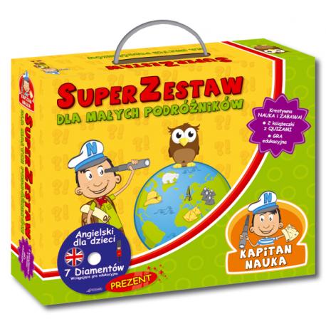 Kapitan Nauka SuperZestaw dla małych podróżników  (Dwie książeczki z quizami i zagadkami + CD-ROM gra edukacyjna Angielski 7 Diamentów)