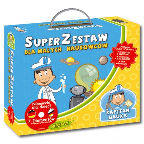 Kapitan Nauka SuperZestaw dla małych naukowców  (Książeczka z quizami + Książeczka z zagadkami + CD-ROM gra edukacyjna Niemiecki 7 Diamentów)