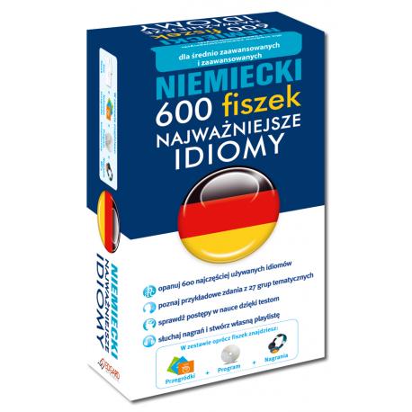 NIEMIECKI 600 fiszek NAJWAŻNIEJSZE IDIOMY +CD  (600 fiszek + CD-ROM z programem Fiszki mp3 i nagraniami MP3 + Kolorowe przegródki)