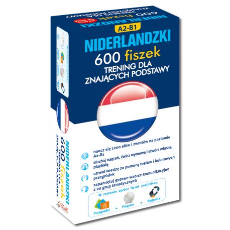Niderlandzki 600 fiszek Trening dla znających podstawy +CD (600 fiszek + CD-ROM z programem Fiszki mp3 i nagraniami MP3 + Kolorowe przegródki)