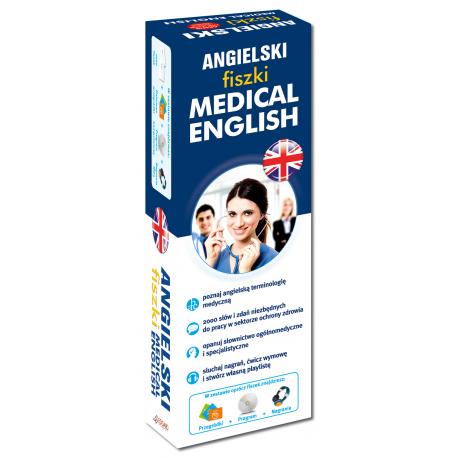 Angielski fiszki Medical English +CD  (1000 fiszek + CD-ROM MP3 z programem i nagraniami + Kolorowe przegródki)