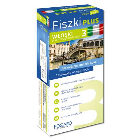 Włoski Fiszki PLUS dla początkujących 3  (600 fiszek + program i nagrania do pobrania + kolorowe przegródki + etui)