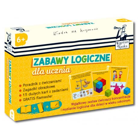 Zabawy logiczne dla ucznia 6+ (Poradnik dla opiekunów + zagadki obrazkowe + karty z ćwiczeniami + flamaster)