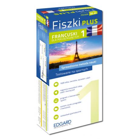 Francuski Fiszki PLUS dla początkujących 1  (600 fiszek + program i nagrania do pobrania + kolorowe przegródki + etui)