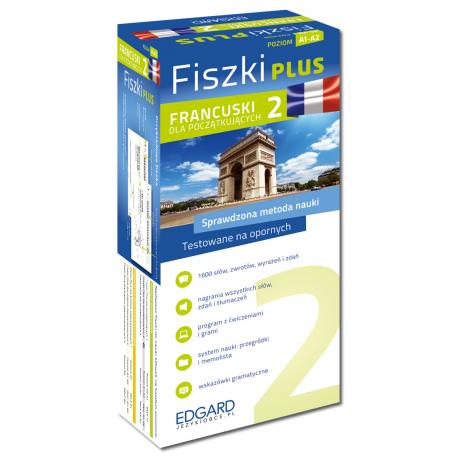 Francuski Fiszki PLUS dla początkujących 2  (600 fiszek + program i nagrania do pobrania + kolorowe przegródki + etui)