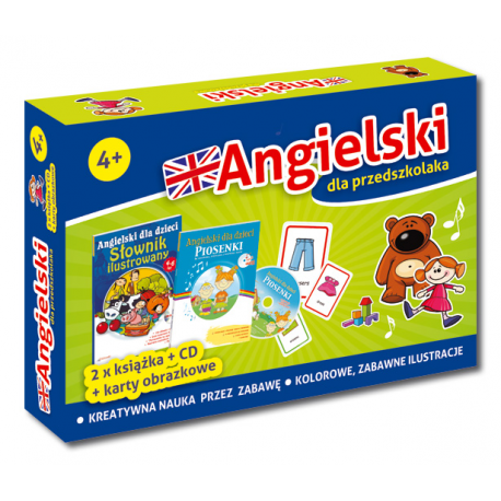 Pakiet Angielski dla przedszkolaka 4+ (słownik + piosenki z CD + karty obrazkowe)