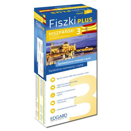 Hiszpański Fiszki PLUS dla średnio zaawansowanych 3  (600 fiszek + program i nagrania do pobrania + kolorowe przegródki + etui)