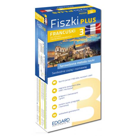 Francuski Fiszki PLUS dla średnio zaawansowanych 3  (600 fiszek + program i nagrania do pobrania + kolorowe przegródki + etui)