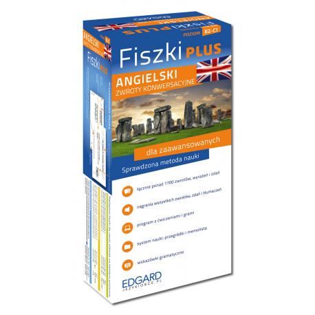 Angielski Fiszki PLUS Zwroty konwersacyjne dla zaawansowanych  (600 fiszek + program i nagrania do pobrania + kolorowe przegródki + etui)