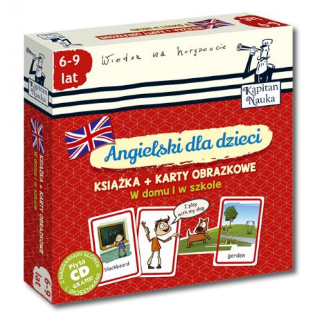 Kapitan Nauka Angielski dla dzieci W domu i w szkole (Książka + 104 karty obrazkowe + płyta CD)