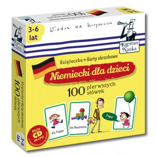 Kapitan Nauka Niemiecki dla dzieci 100 pierwszych słówek (Książeczka + 104 karty obrazkowe + płyta CD)